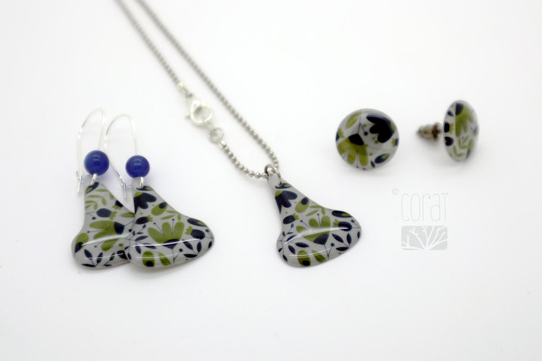 collier chaine bille boucles oreilles motif floral bleu vert bijoux corai2