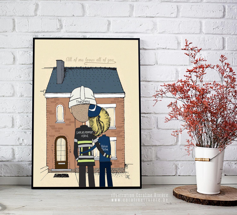 commande dessin jeune couple devant nouvelle maison pompier policiere amour love