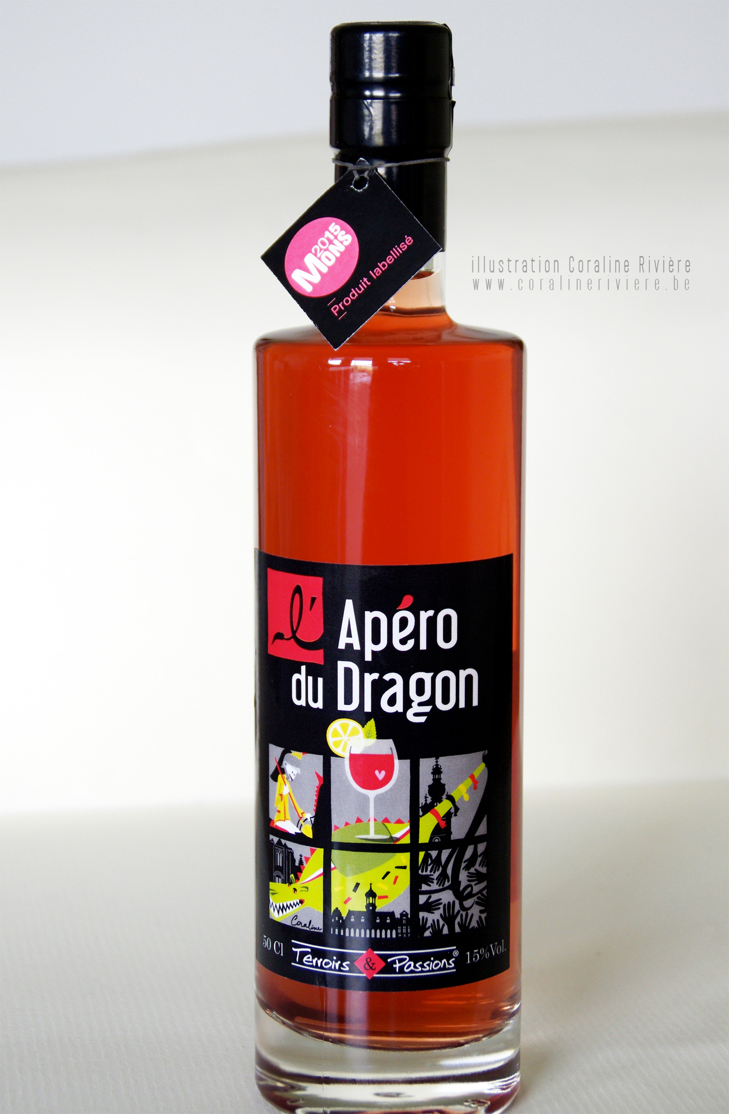 creation etiquette bouteille alcool apero packaging illustration graphisme