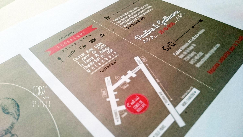 creation faire part mariage sur mesure dessin plan acces typographes blanc rose kraft