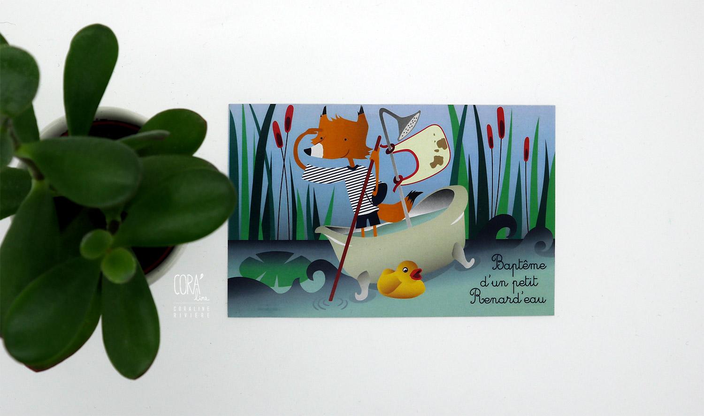 creation illustration invitation bapteme renard eau symboles