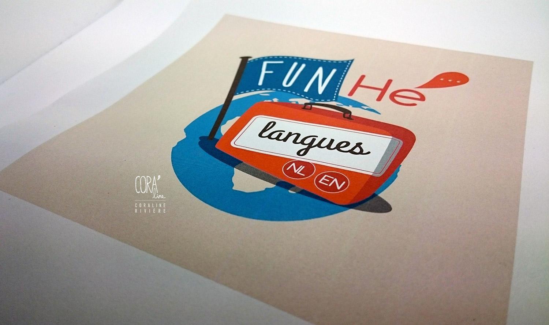 creation logo cours de langues anglais neerlandais cours rattrapge scolaire loisirs voyage