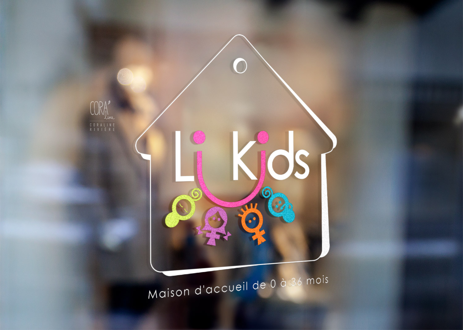 creation logo li kids creche bebe enfants