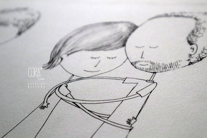 croquis faire part mariage dessin couple
