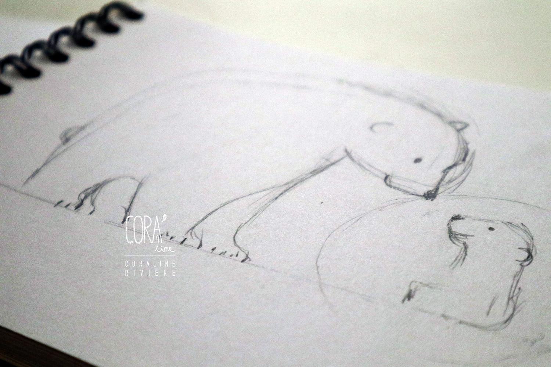 croquis ours polaire pour creation faire part naissance salome