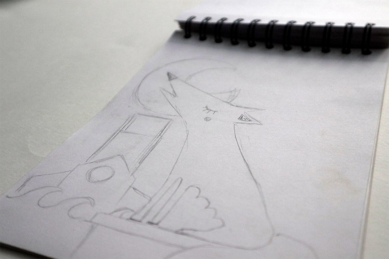 croquis pour recherche illustration louve la louviere1