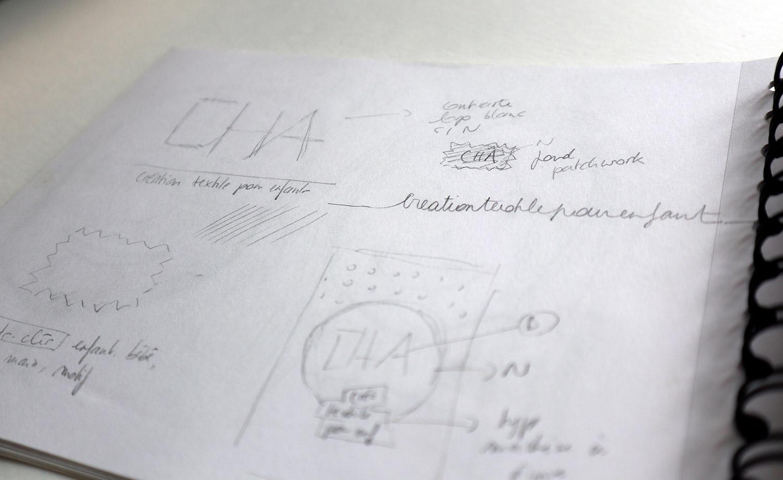 croquis recherche identite visuelle cha creations creatrice textile pour enfants1