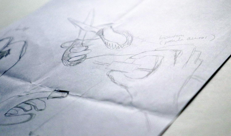 croquis recherches gestes main bricoler dessiner coudre decouper