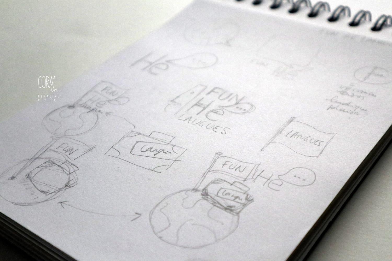 croquis recherches pour creation logo apprentissage langues neerlandais anglais