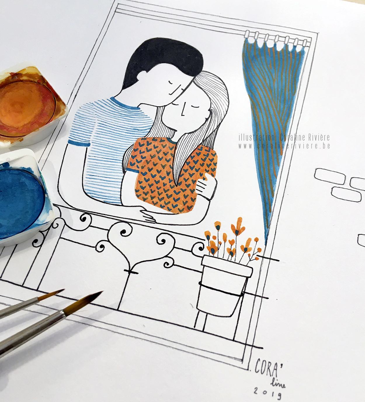 dessin aquarelle couple enlace au balcon fenetre vent dans les rideaux poesie