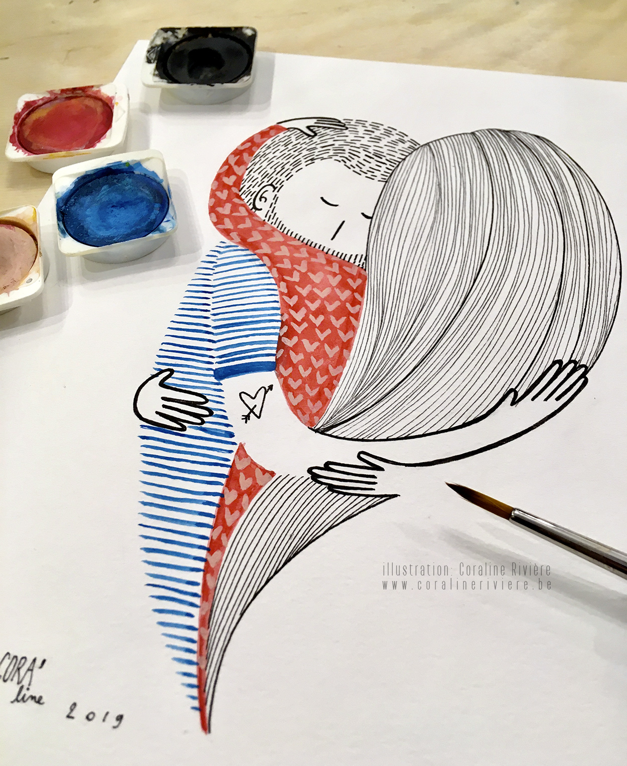 dessin aquarelle couple femme homme marin tatouage coeur enlaces poesie amour