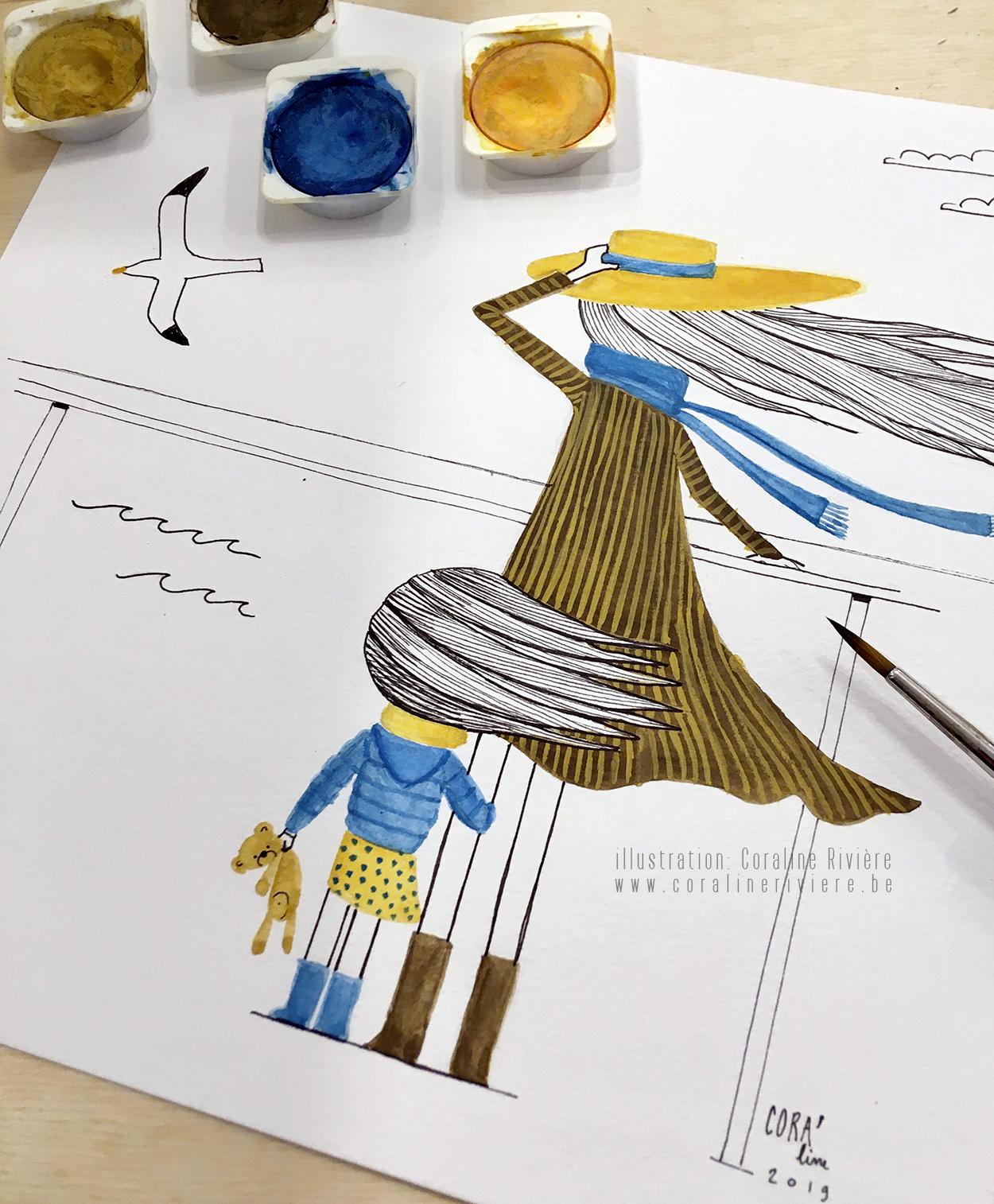 dessin aquarelle maman et fille bord de mer cheveux au vent