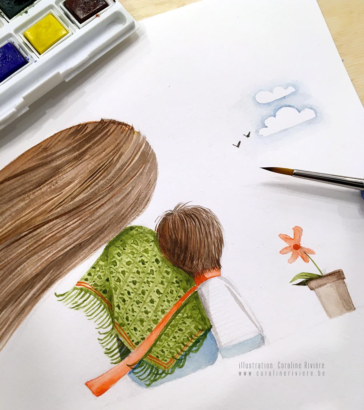 dessin aquarelle maman et petit garcon regardant horizon tete sur epaule cheveux au vent1