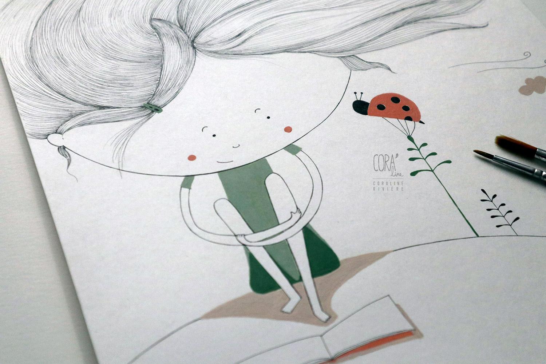 dessin coraline riviere illustration originale amitie fillette vent dans cheveux nature coccinelle