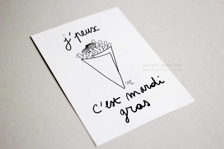 dessin coraline riviere illustratrice mardi gras carnaval belgique paquet frites