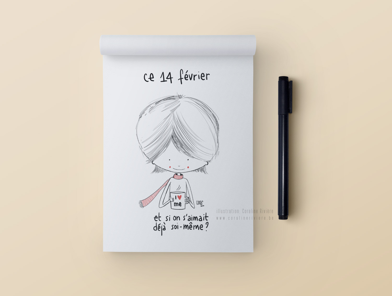 dessin coraline riviere illustratrice saint valentin s aimer soi meme i love me