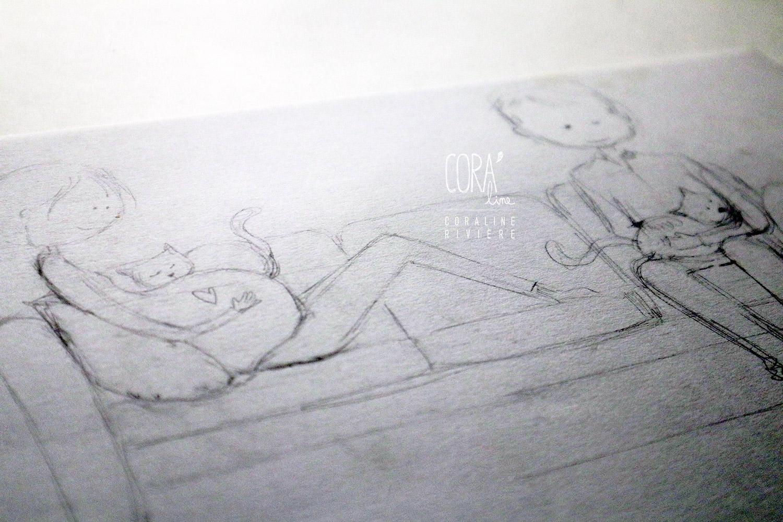 dessin couple arrivee bebe enfant jouer avec chats faire part naissance alice