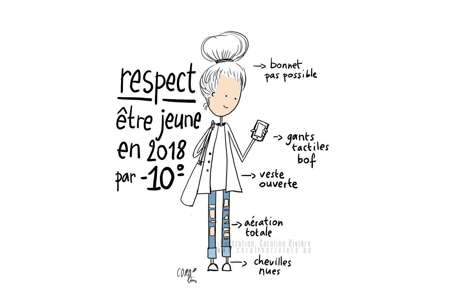 dessin humoristique coraline riviere hiver 2018 mode fashion trous jeans avoir froid mais etre a la mode1