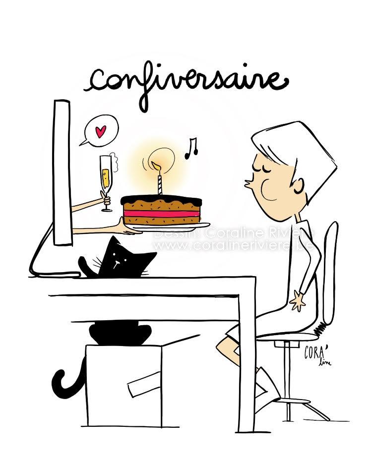 dessin humour feter son anniversaire pendant le confinement covid19