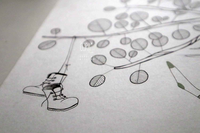 dessin peinture encre coraline riviere balancoire cheveux au vent pieds chaussettes enjoy profiter de la vie