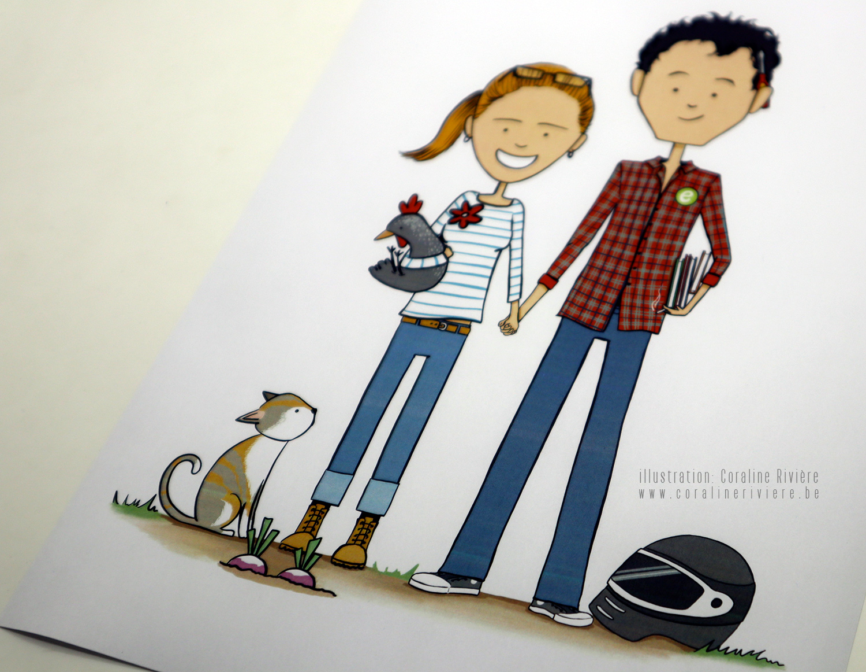 dessin portrait couple personnalisation ecologie nature potager look vetements hobbies
