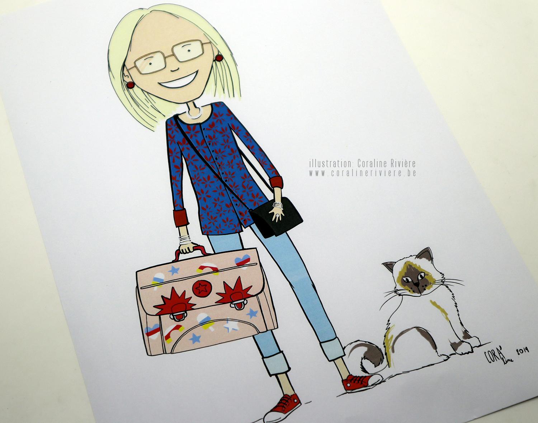 dessin portrait personnalisation institutrice enseignante cartable look vestimentaire traits physiques