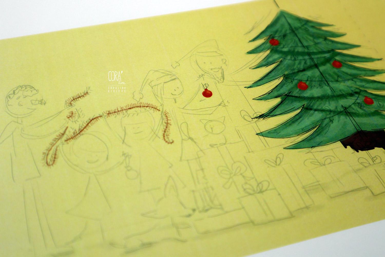 dessin theme noel en famille decorer sapin