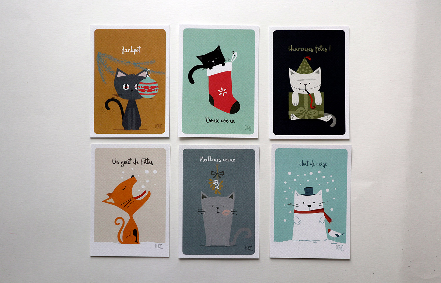 dessins carte de voeux humour chat illustrations coraline riviere