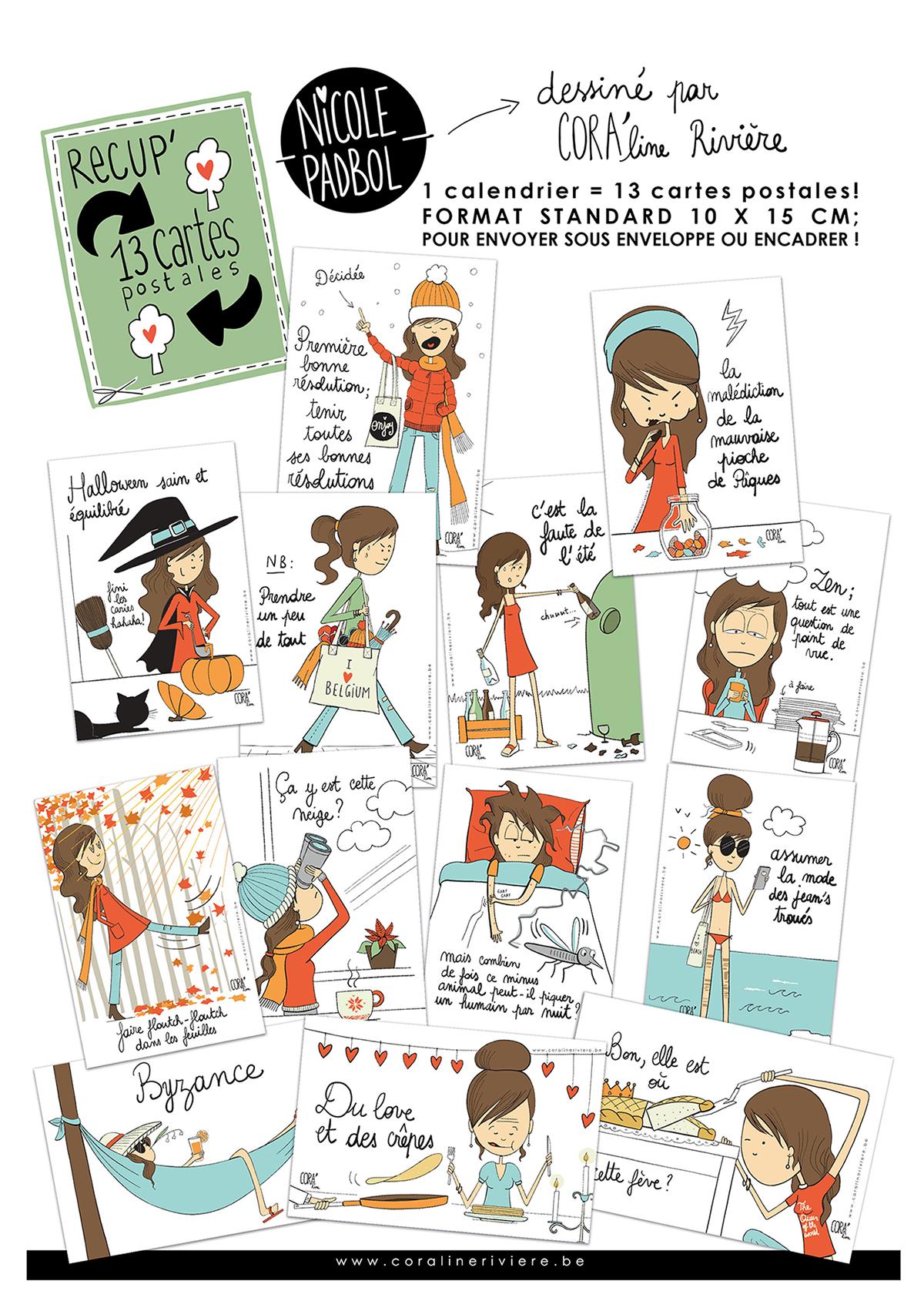 ensemble cartes postales dessins humoristiques nicole padbol