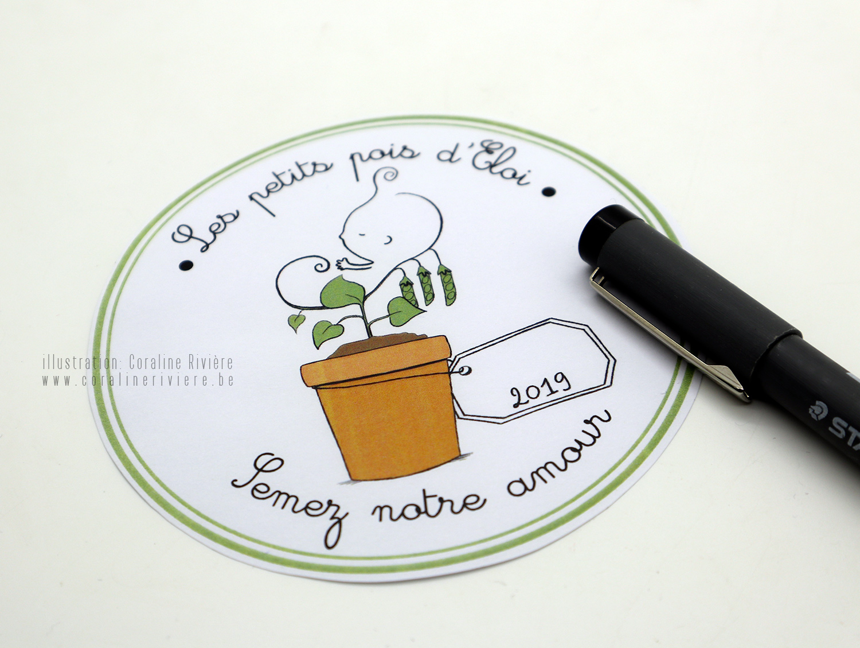etiquette naissance souvenir petits pois eloi a faire pousser planter