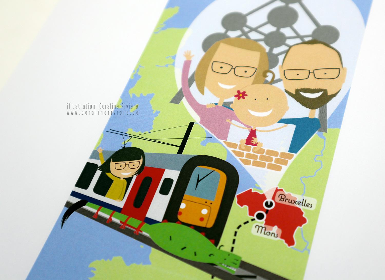 faire part carte europe voyage parents parrain marraine