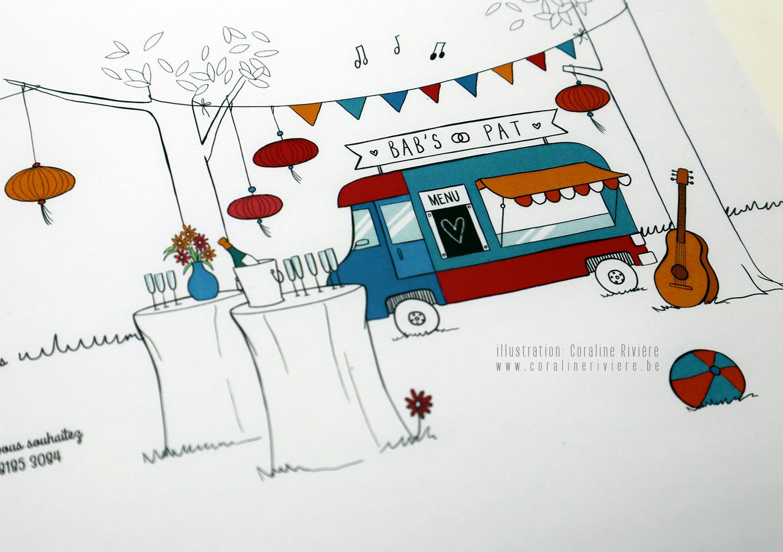 faire part mariage champetre food truck nature musique instrauments jeux