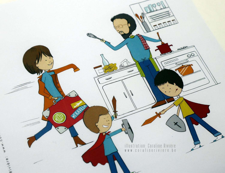 faire part mariage dessin scene vie quotidienne famille cuisine enfants jouent