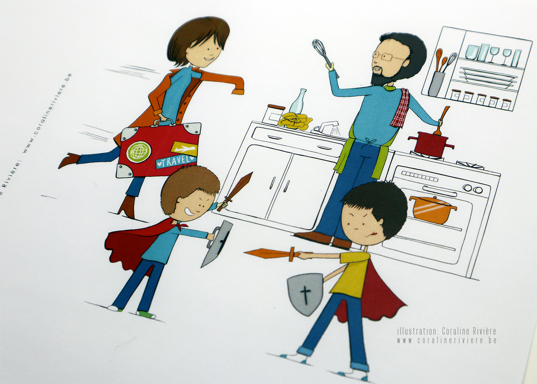 faire part mariage dessin style bd bande dessinee scene quotidienne de vie de famille