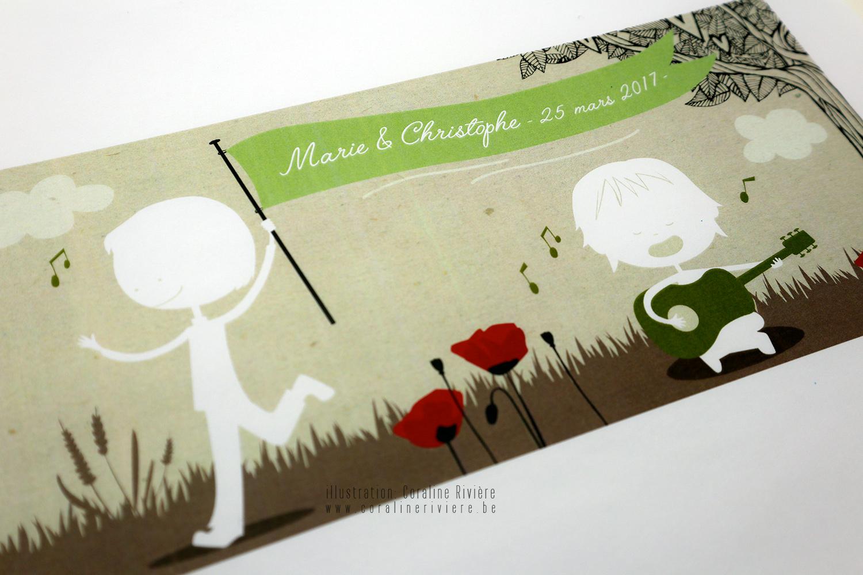 faire part mariage original dessin enfants theme champetre coquelicot rouge vert kraft