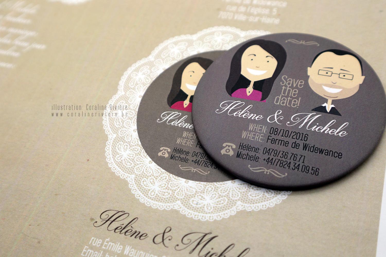 faire part mariage original magnet aimant portrait futurs maries
