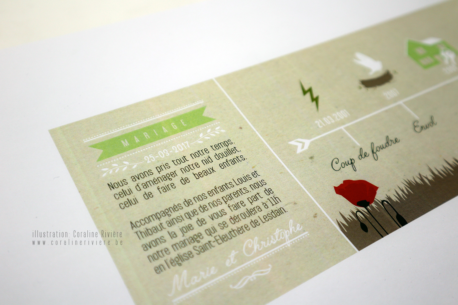 faire part mariage original theme champetre campagne coquelicot nature feuillage
