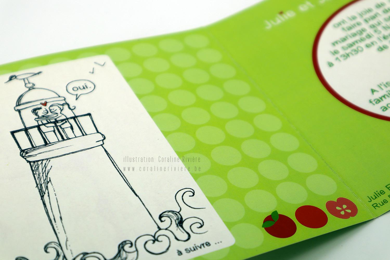 faire part mariage vert rouge pomme bretagne ligne de vie petite histoire
