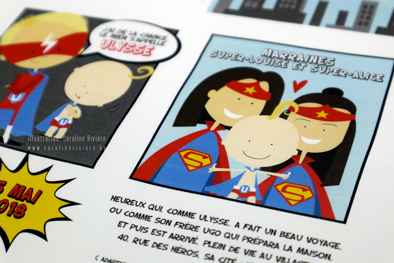 faire part naissance BD super heros bande dessinee comics creation originale sur mesure1