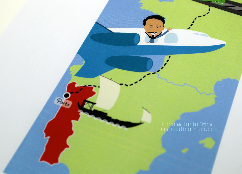faire part naissance Emilia carte voyage monde