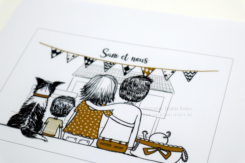 faire part naissance Sam dessin famille vue de dos assise contemplant nouvelle maison dessin noir blanc moutarde