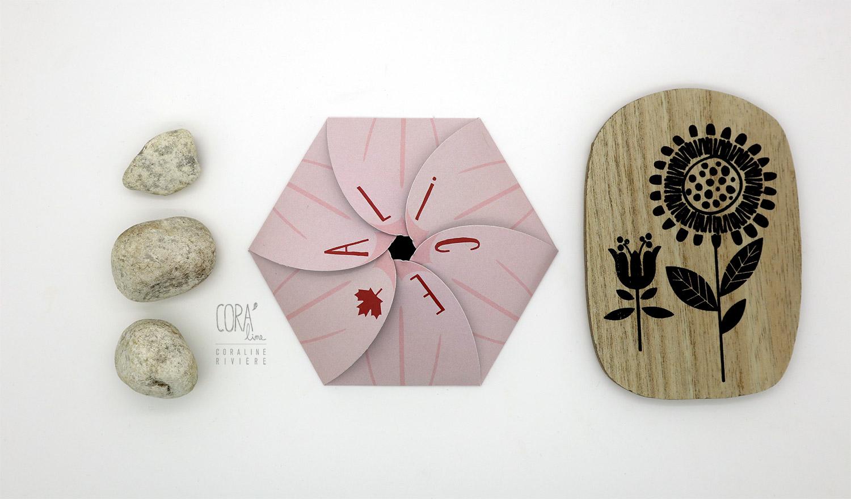 faire part naissance alice rose fleur pliage origami