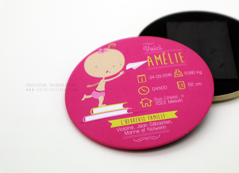 faire part naissance amelie magnet aimant pour frigo rose fushia