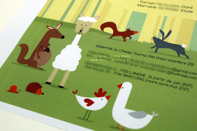 faire part naissance chateau ramegnies chin parc animaux lama ane chevre oie kangourou