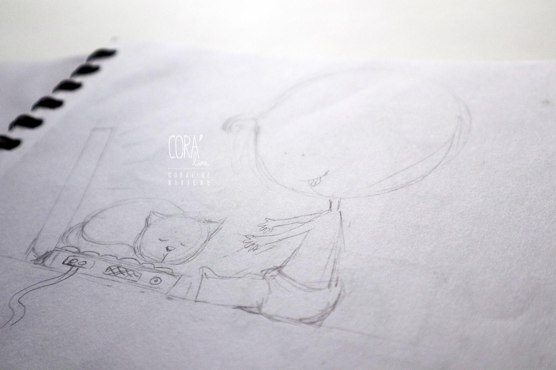 faire part naissance croquis pour bd dessin chat biberon instrument musique jouet ordinateur