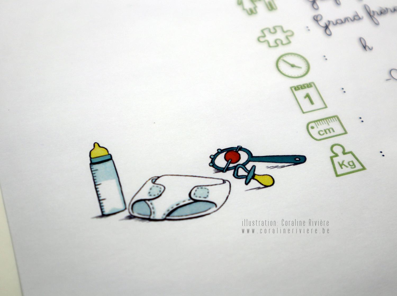 faire part naissance dessin petite bande dessinee au fil des saisons