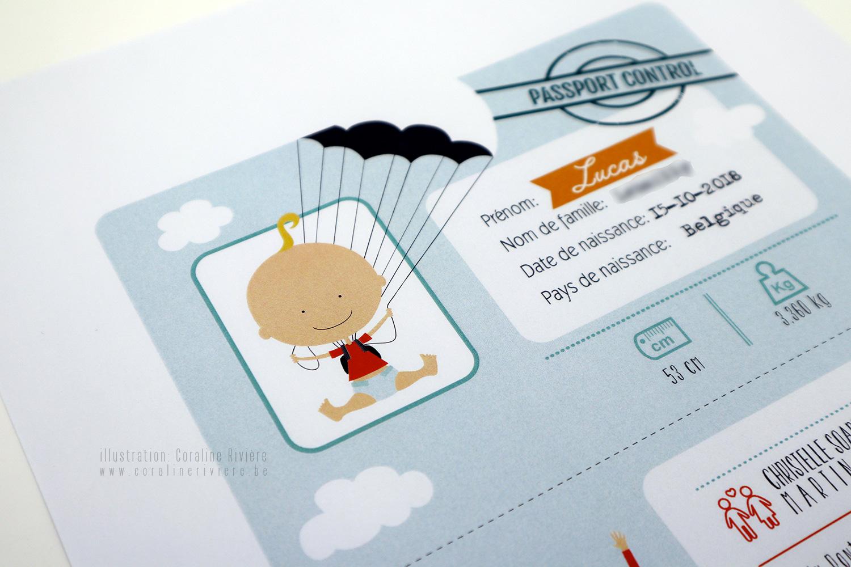 faire part naissance lucas theme voyage autour du monde avion passeport