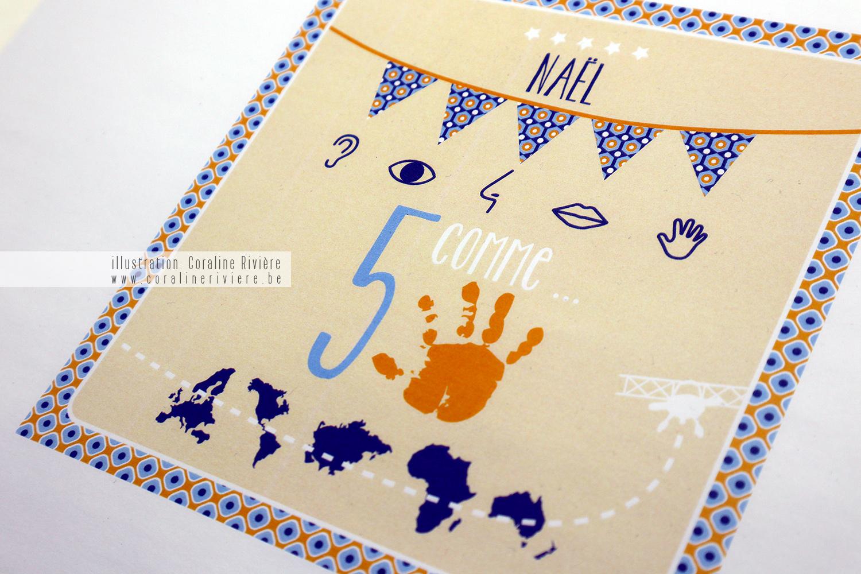 faire part naissance original Nael 5 comme continents doigts 5 sens