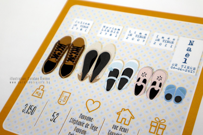 faire part naissance original paires chaussures toute la famille