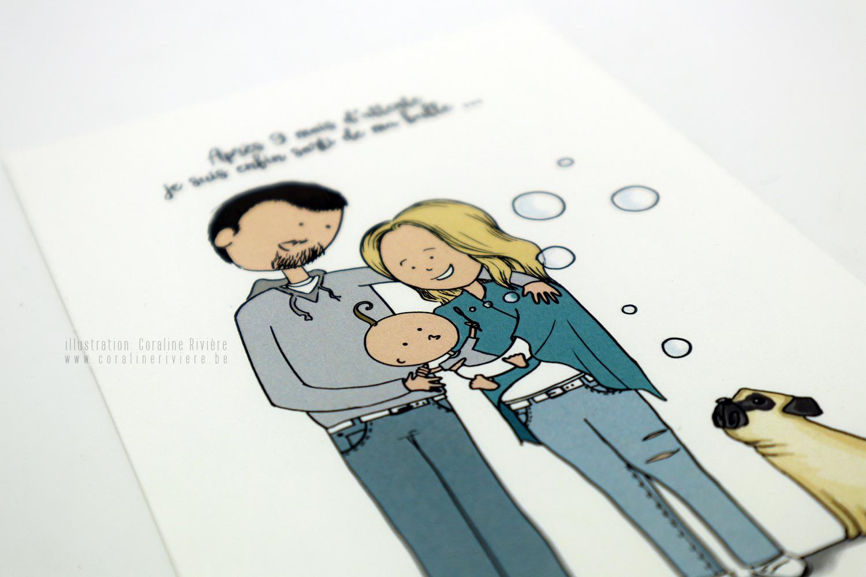 faire part naissance raphael desin bebe faire bulles savon dessin famille parents bebe chien carlin